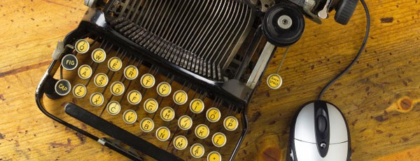Schreibmaschine mit Computermaus