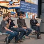 Abschlussdiskussion mit Deutschlands jüngstem Entwickler Felix Guttbier, Simon Smend und Felix Nienstädt von UnlockYourBrain und Thomas Schmidt von Helliwood.